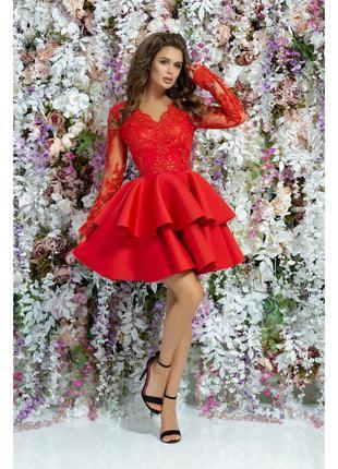 Платье красное женское короткое кружевное