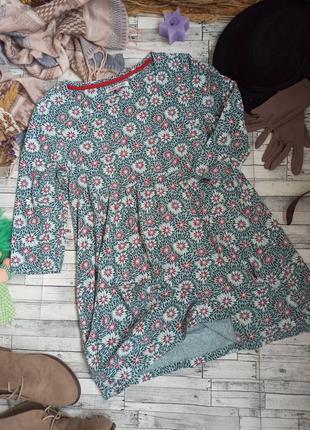 Трикотажное платье туника в цветочек органический хлопок mudd&water