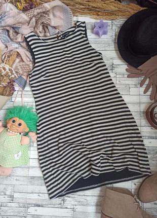 Тёплое трикотажное платье в полоску без рукавов миди хлопок valerie bertinelli