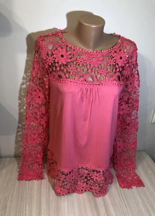 Кружевная кофта нарядная блуза прямая кофточка мереживна