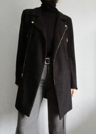 Пальто прямое косуха черное missguided