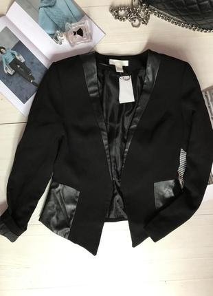 Пиджак со вставками из эко кожи