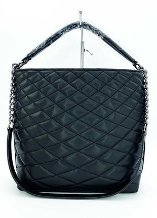 Черная большая сумка мешок шоппер на одно плечо с длинной ручкой стеганая молодежная сумочка