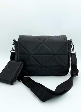 Черная маленькая сумочка кросс боди через плечо мини сумка женская с кошельком