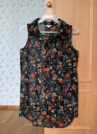 Майка рубашка с цветочным принтом