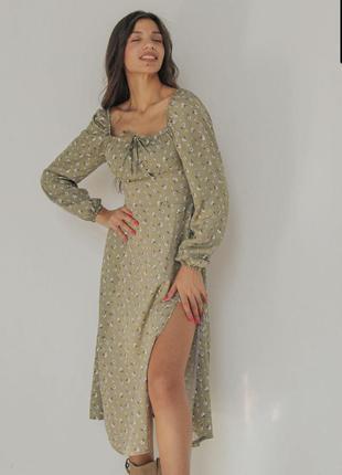 Платье сукня миди с разрезом фисташковое зелёное в цветок