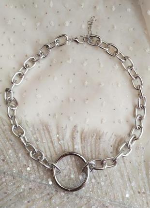 Цепь цепочка чокер колье ожерелье под серебро новое