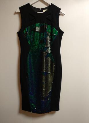 Шикарное платье карандаш дорогого бренда в пайетках перевертышах размера l