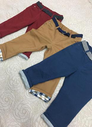 Твиловые брюки чиносы штаны джинсы с подворотом для девочек и мальчиков 1 год h&m