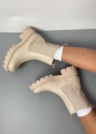 Женские бежевые ботинки на тракторной подошве/женские челси.
