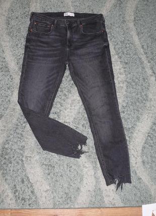 Крутые серые джинсы необработанный низ zara