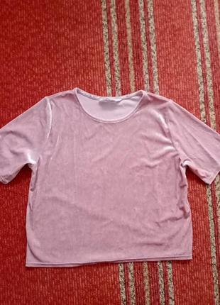 Велюровый укороченый топ блуза футболка