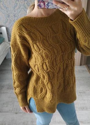 Стильный теплый горчичный свитер