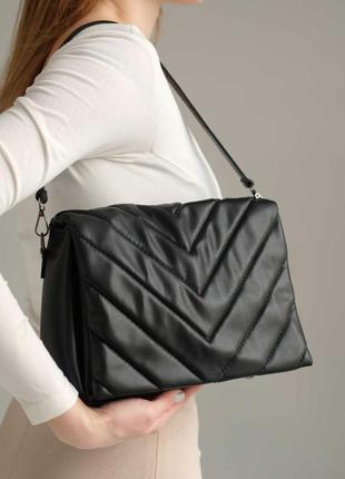 Черная модная сумочка кросс боди через плечо вместительная красивая мини сумка на длинном ремешке