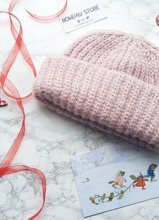 В наличии шапка шапочка вязаная светло нежно розовая пудровая