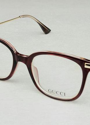 Gucci очки женские имиджевые оправа для очков коричневая с золотом