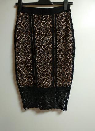 Шикарная кружевная юбка размера m