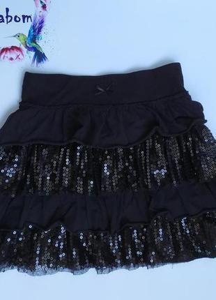 Фирменная нарядная черная юбка, паетка