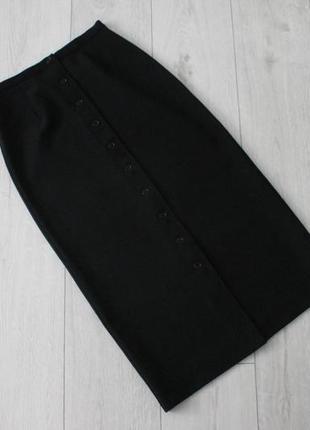 Черная юбка миди с пуговицами по всей длине united colours of beneton