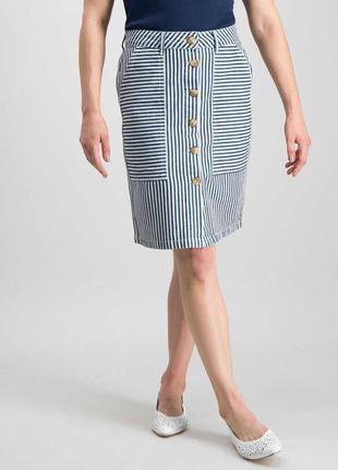 Джинсовая юбка в полоску трендовые пуговички размера m