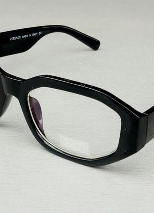 Versace очки унисекс имиджевые оправа для очков черная с золотым логотипом
