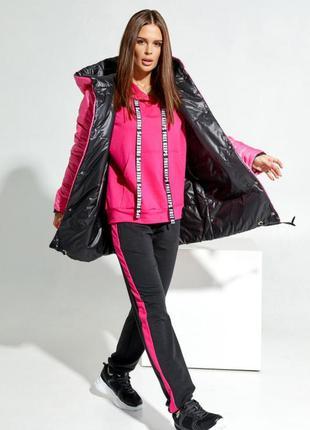 Черно-розовая двухсторонняя куртка с капюшоном