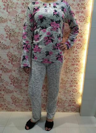Пижама с начесом, теплая пижама, трикотажная пижама,комплект для сна, костюм для дома р-р 48-56