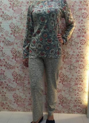Пижама с начесом, теплая пижама,  трикотажная пижама, комплект для сна, костюм для дома р-р 48-56