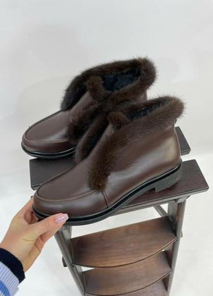Лофери шкіряні опушка норка зима чи осінь \ лоферы норка натуральная осень зима