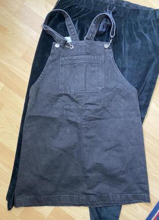 Чёрный джинсовый комбинезон ромпер denim co