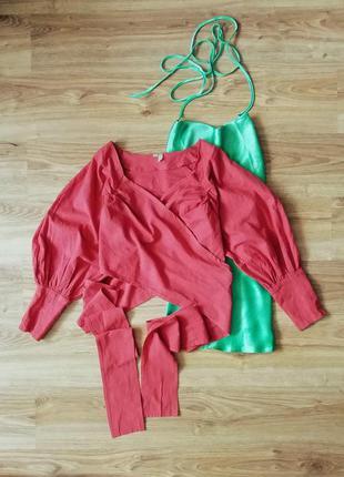 Блуза на запах с запахом розовая рожева короткая укороченная вкорочена