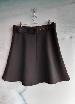 Черная плотная юбка трапеция клеш дайвинг с поясом zara