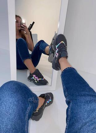 Кожаные кроссовки adidas ozweego dark grey/mint