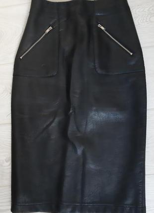 Юбка карандаш из эко кожи черная xs zara
