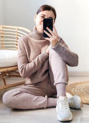 Теплый женский вязаный костюм свитер и штаны