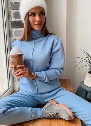 Бесподобный теплый женский вязаный  костюм кофта и штаны