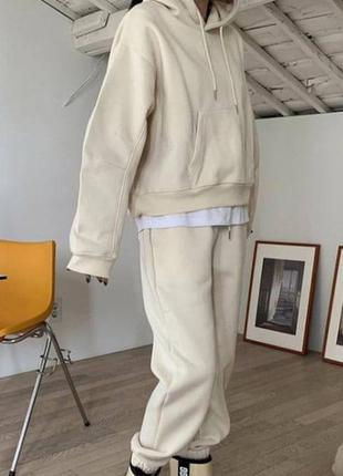 Спортивный костюм двойка худи и джогерры на флисе