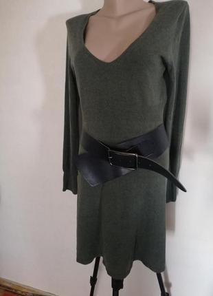 Платье теплое шерсть ангора темно зеленое изумрудное универсальное