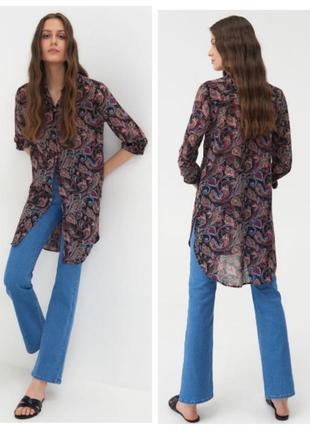 Новая удлинённая блуза из шифона, рубашка , р. 46-48 наш.
