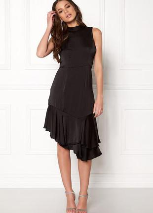 Черное сатиновое атласное платье миди vero moda размер 36