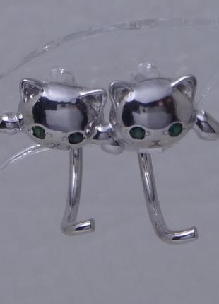 Родированные серебряные серьги котенок