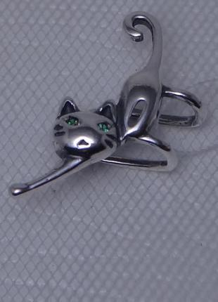 Серебряная моносерьга-каффа кошка