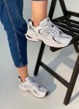 Кожаные кроссовки new balance 530 white/silver