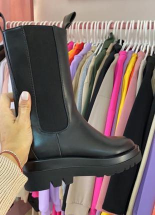 Массивные деми ботинки/сапоги/челси. сапоги боты гриндерсы на грубой подошве на флисе