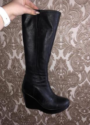 Чёрные высокие ботфорты ботинки натуральная кожа