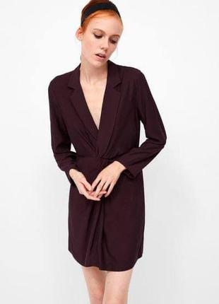 Бордовое платье с узлом zara