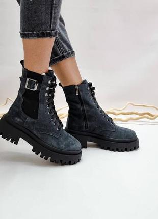35-41 рр деми/зима высокие ботинки на платформе на шнурках натуральная кожа