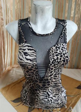 Эксклюзивная майка маечка тигровая с прозрачными вставками вырезом