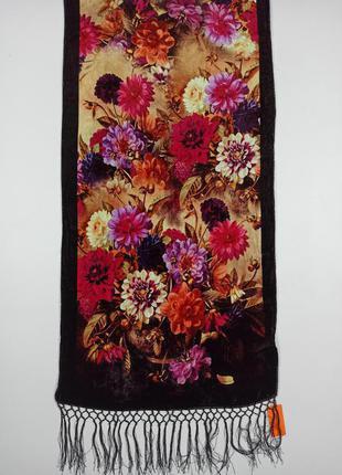 Бархатный шелковый натуральный шарф палантин 100% шелк с цветами новый качественный