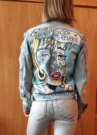 Винтажная/ретро джинсовая куртка / пиджак . размер м .
